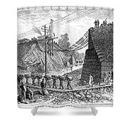 Railroad Washout, 1885 Shower Curtain