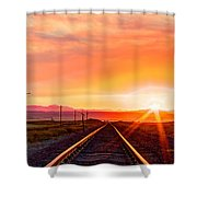 Rails To The Red Sky Shower Curtain