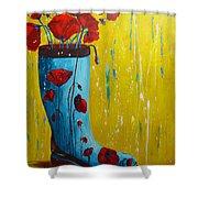 Rain Boot Series Unusual Flower Pots Shower Curtain by Patricia Awapara