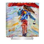 Rain Dance With Red Umbrella Shower Curtain