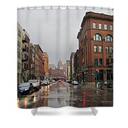 Rain On Water Street 1 Shower Curtain