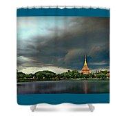 Rain Storm Lake View Shower Curtain