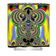 Rainbow Alien Owls Fractal 57 Shower Curtain