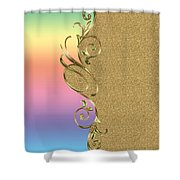 Rainbow And Gold Shower Curtain