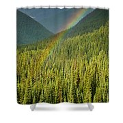 Rainbow And Sunlit Trees Shower Curtain