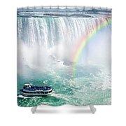 Rainbow And Tourist Boat At Niagara Falls Shower Curtain