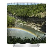 Middle Falls With Rainbow Shower Curtain