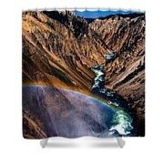 Rainbow At The Grand Canyon Yellowstone National Park Shower Curtain
