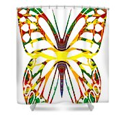 Rainbow Butterfly Abstract Nature Artwork Shower Curtain