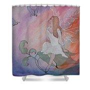 Rainbow Butterfly Fairy Shower Curtain