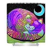 Rainbow Cat Blue Moon Shower Curtain
