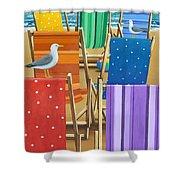 Rainbow Deckchairs Shower Curtain