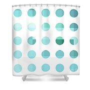 Rainbow Dots Aqua  Shower Curtain