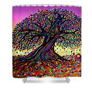 Rainbow Dreams And Falling Leaves Shower Curtain