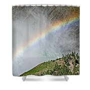 Rainbow From Spray Of Lower Yellowstone Falls Against Yellowstone Canyon Wall-wyoming  Shower Curtain