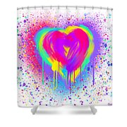 Rainbow Heart Shower Curtain