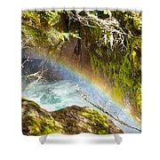 Rainbow In Avalanche Creek Canyon In Glacier National Park-montana Shower Curtain