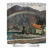 Rainbow In The Mountains Shower Curtain
