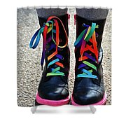 Rainbow Laces Shower Curtain