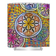Rainbow Mosaic Circles And Flowers Shower Curtain