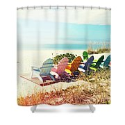 Rainbow Of Adirondack Chairs IIII Shower Curtain