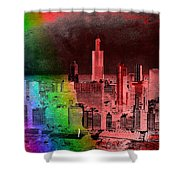 Rainbow On Chicago Mixed Media Textured Shower Curtain