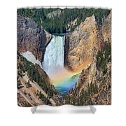 Rainbow On The Lower Falls Yellowstone National Park Shower Curtain