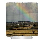 Rainbow Over Fields Shower Curtain