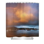 Rainbow Over Harbor At Sunset, Portree Shower Curtain