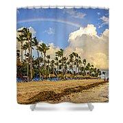 Rainbow Over The Beach Shower Curtain