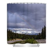 Rainbow Over The Mountains Shower Curtain