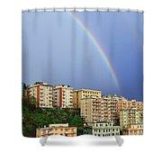 Rainbow Over The Town Shower Curtain