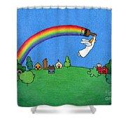 Rainbow Painter Shower Curtain by Sarah Batalka