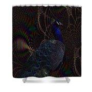 Rainbow Peacock Fractal Shower Curtain