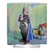Rainbow Sherbet Little Ninja Boy Shower Curtain