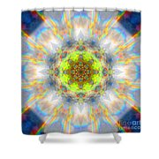 Rainbow Starburst Mandala Shower Curtain