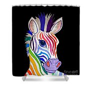 Rainbow Striped Zebra 2 Shower Curtain