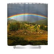 Rainbow Through The Forest Shower Curtain