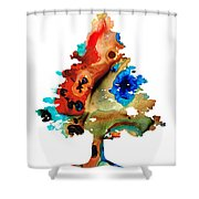 Rainbow Tree 2 - Colorful Abstract Tree Landscape Art Shower Curtain