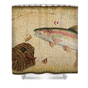 Rainbow Trout-basket Weave Shower Curtain by Jean Plout