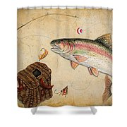 Rainbow Trout Shower Curtain by Jean Plout
