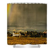 Rainbow Over The Tower Shower Curtain