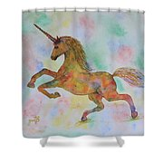 Rainbow Unicorn In My Garden Original Watercolor Painting Shower Curtain
