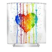 Rainbow Watercolor Heart Shower Curtain