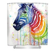 Rainbow Zebra - Ode To Fruit Stripes Shower Curtain by Olga Shvartsur