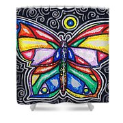 Rainbows And Butterflies Shower Curtain