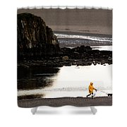 Raincoat Dog Walk Shower Curtain
