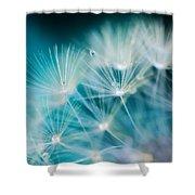 Raindrops On Dandelion Sea Blue Shower Curtain