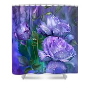 Raindrops On Lavender Roses Shower Curtain