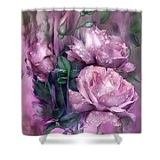 Raindrops On Pink Roses Shower Curtain